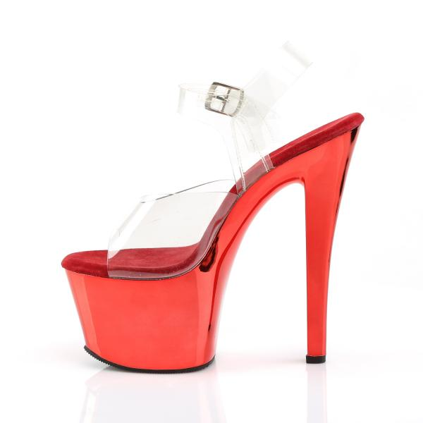 SKY-308 Pleaser high heels platform ankle strap sandal transparent red chrome
