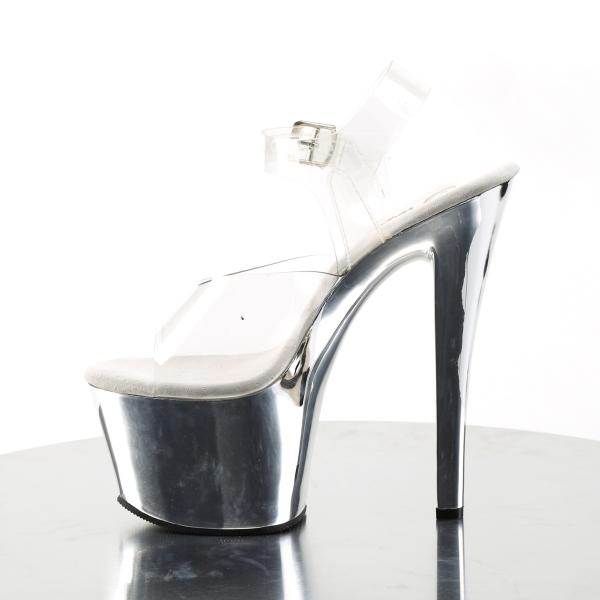 SKY-308 Erotische Pleaser High-Heels Plateausandaletten transparent silber Chrom
