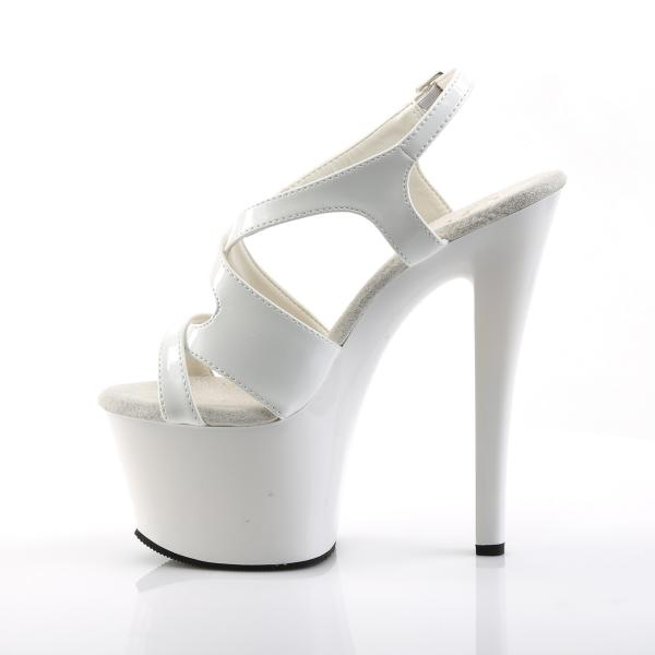 SKY-330 Pleaser high heels platform criss-cross sling back sandal white patent