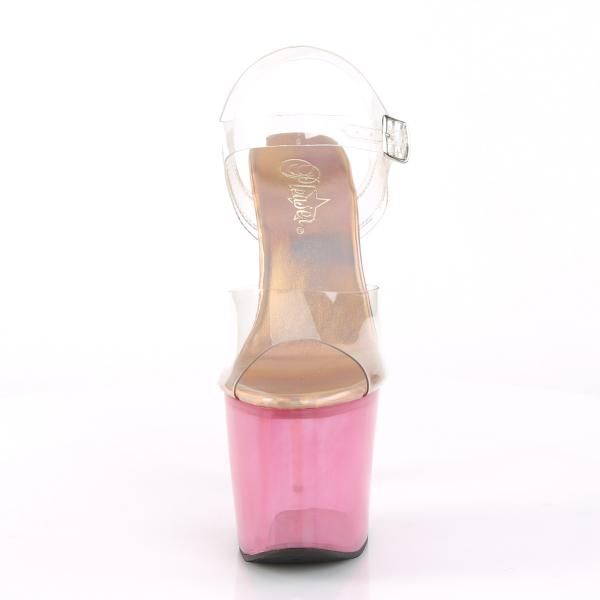 UNICORN-708T Pleaser high heels platform sandal unicorn heel clear pink tinted