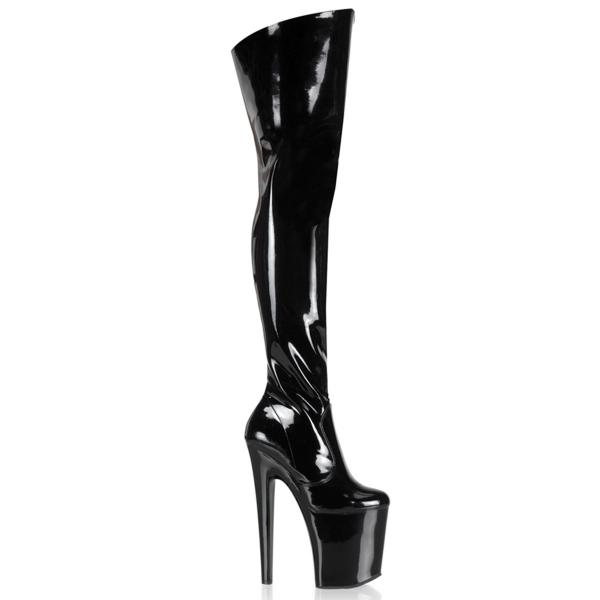 XTREME-3010 Pleaser high heels platform thigh boot black patent