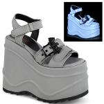 WAVE-13 Demonia wedge platform ankle strap sandal grey reflective bat buckle